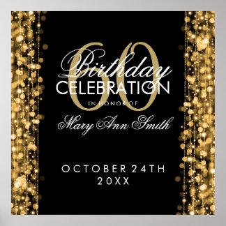 Elegant 60th Birthday Party Sparkles Gold Poster