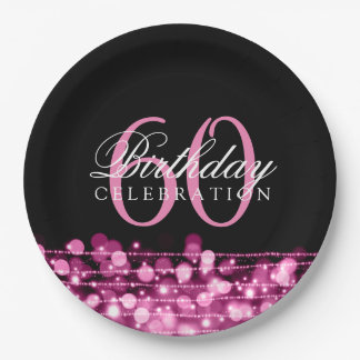 Elegant 60th Birthday Party Sparkles Pink Paper Plate