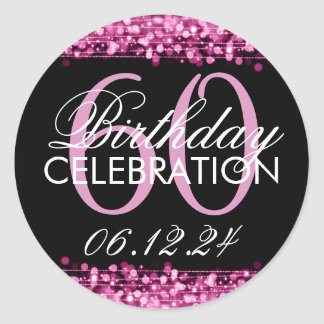 Elegant 60th Birthday Party Sparkles Pink Round Sticker