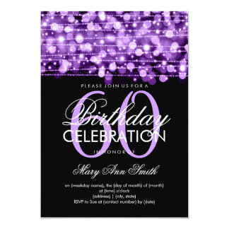 Elegant 60th Birthday Party Sparkles Purple Card