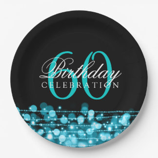 Elegant 60th Birthday Party Sparkles Turquoise 9 Inch Paper Plate