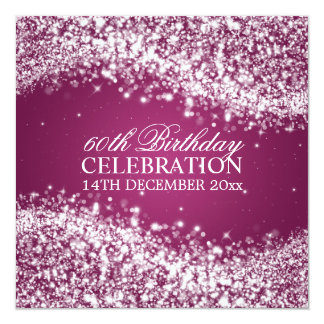 Elegant 60th Birthday Party Sparkling Wave Berry 13 Cm X 13 Cm Square Invitation Card