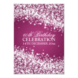 Elegant 60th Birthday Party Sparkling Wave Berry Card