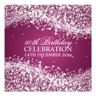 Elegant 60th Birthday Party Sparkling Wave Berry Personalized Invitations
