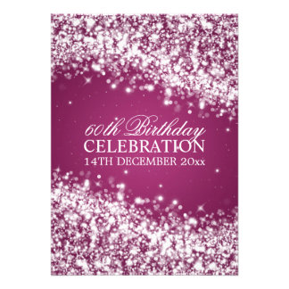 Elegant 60th Birthday Party Sparkling Wave Berry Personalised Invitation