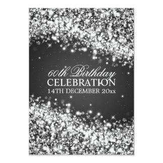 Elegant 60th Birthday Party Sparkling Wave Black 13 Cm X 18 Cm Invitation Card