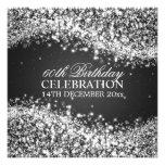 Elegant 60th Birthday Party Sparkling Wave Black Personalized Invite