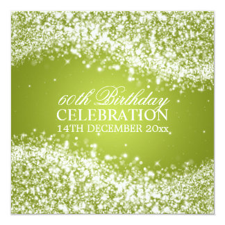 Elegant 60th Birthday Party Sparkling Wave Lime Card