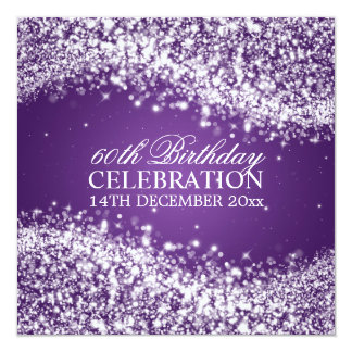 Elegant 60th Birthday Party Sparkling Wave Purple Card