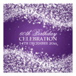 Elegant 60th Birthday Party Sparkling Wave Purple Personalised Invites