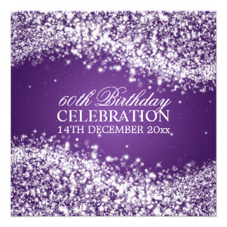 Elegant 60th Birthday Party Sparkling Wave Purple Personalised Invites