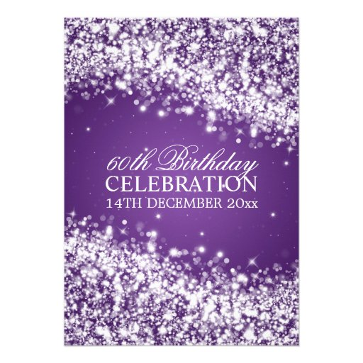 Elegant 60th Birthday Party Sparkling Wave Purple Custom Invites