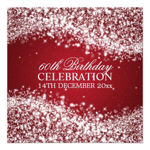 Elegant 60th Birthday Party Sparkling Wave Red Custom Invites