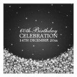 Elegant 60th Birthday Party Star Sparkle Black Invite