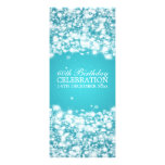 Elegant 60th Birthday Party Star Sparkle Blue Personalised Announcement