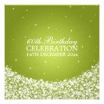 Elegant 60th Birthday Party Star Sparkle Lime Invites