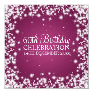 Elegant 60th Birthday Party Winter Sparkle Berry Card