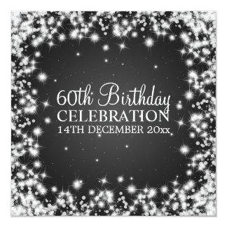 Elegant 60th Birthday Party Winter Sparkle Black Card