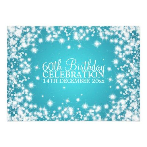 Elegant 60th Birthday Party Winter Sparkle Blue Personalized Invite