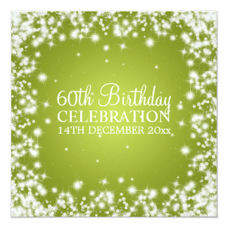 Elegant 60th Birthday Party Winter Sparkle Lime 13 Cm X 13 Cm Square Invitation Card