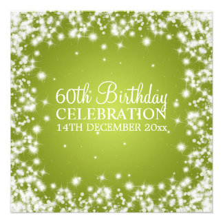 Elegant 60th Birthday Party Winter Sparkle Lime Custom Announcement