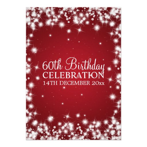 Elegant 60th Birthday Party Winter Sparkle Red Custom Invitations