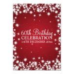 Elegant 60th Birthday Party Winter Sparkle Red Invitations