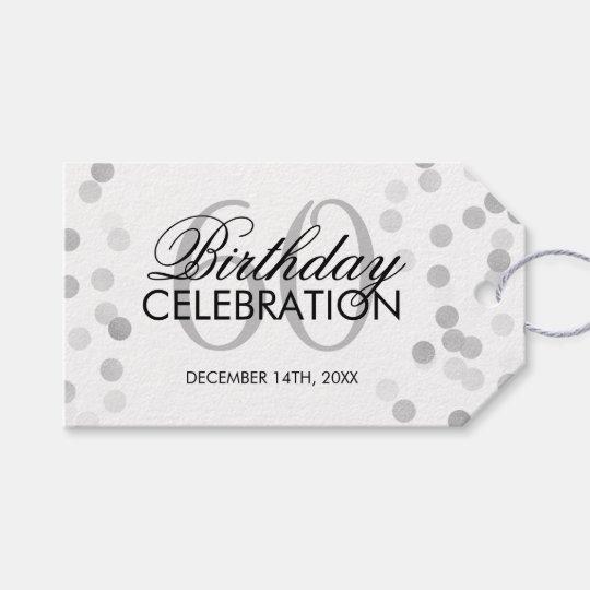 Elegant 60th Birthday Silver Foil Glitter Lights Gift