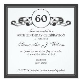 Elegant 60th Birthday Swirly Ribbon Black 13 Cm X 13 Cm Square Invitation Card