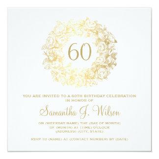 Elegant 60th Birthday Vintage Roses Gold 13 Cm X 13 Cm Square Invitation Card