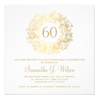 Elegant 60th Birthday Vintage Roses Gold Personalized Announcements