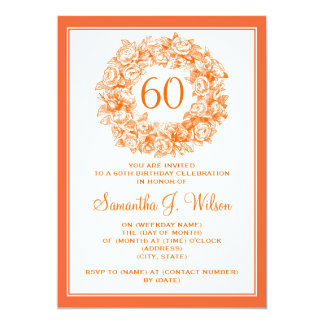 Elegant 60th Birthday Vintage Roses Orange 13 Cm X 18 Cm Invitation Card