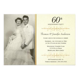 Elegant 60th Wedding Anniversary Party Invitations