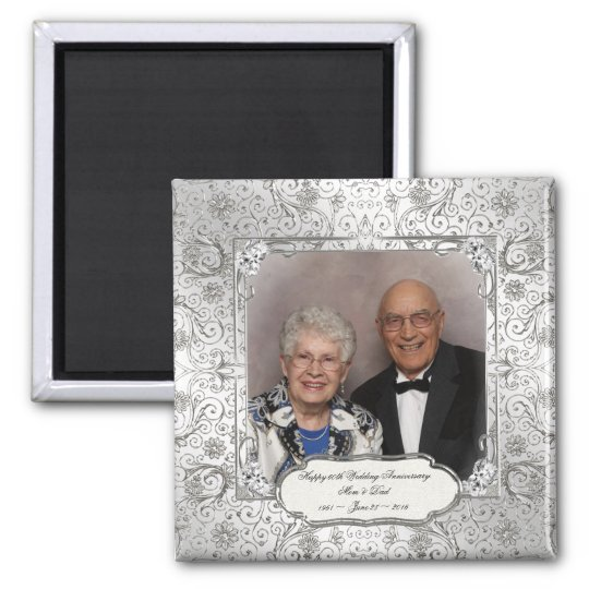 Elegant 60th Wedding Anniversary Photo Magnet