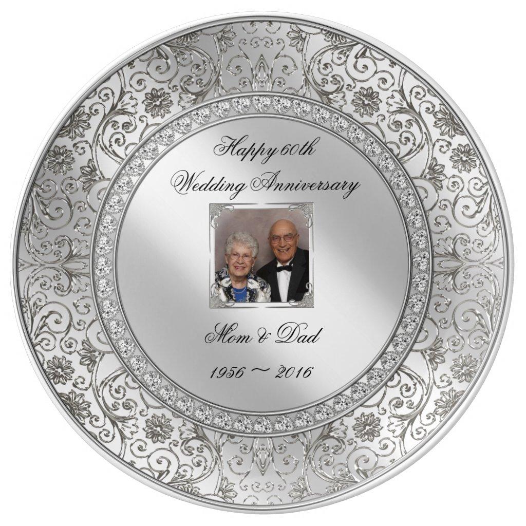 Elegant 60th Wedding Anniversary Porcelain Plate