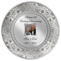 Elegant 60th Wedding Anniversary Porcelain Plate