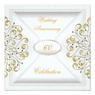Elegant  60th Wedding Anniversary White Gold Card