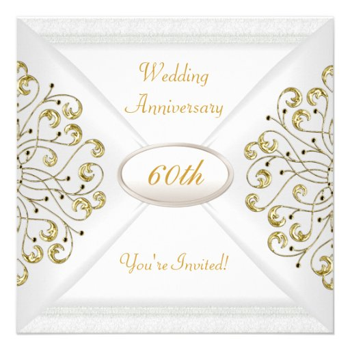 Elegant  60th Wedding Anniversary White Gold Invitations