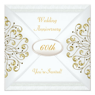 Elegant  60th Wedding Anniversary White Gold Invitations