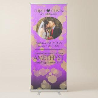 Elegant 6th Amethyst Wedding Anniversary Retractable Banner