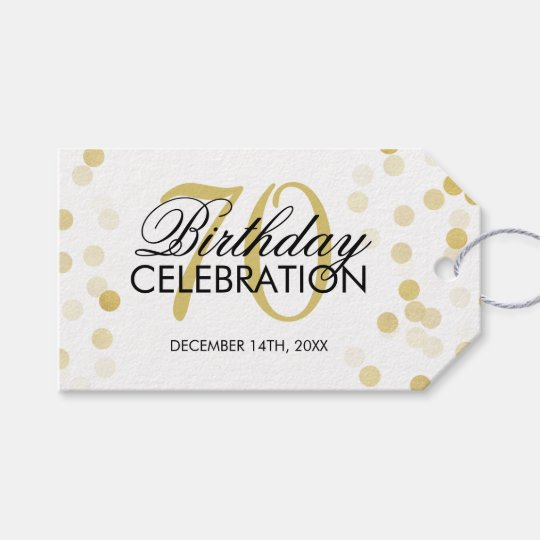Elegant 70th Birthday Gold Foil Glitter Lights Gift