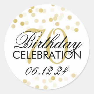 Elegant 70th Birthday Gold Foil Glitter Lights Round Sticker