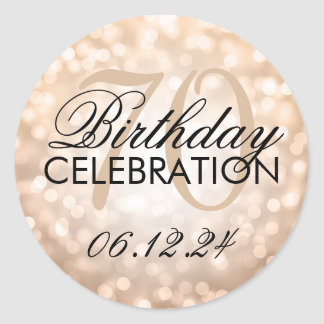 Elegant 70th Birthday Party Copper Glitter Lights Classic Round Sticker