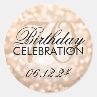 Elegant 70th Birthday Party Copper Glitter Lights Round Stickers