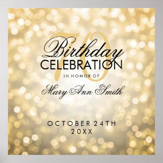 Elegant 70th Birthday Party Glitter Lights Gold Poster