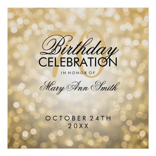 Elegant 70th Birthday Party Glitter Lights Gold Poster