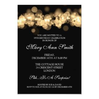 Elegant 70th Birthday Party Gold Bokeh Lights 13 Cm X 18 Cm Invitation Card