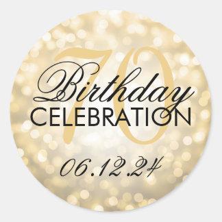 Elegant 70th Birthday Party Gold Glitter Lights Classic Round Sticker