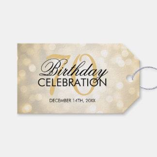 Elegant 70th Birthday Party Gold Glitter Lights Gift Tags