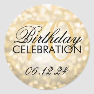 Elegant 70th Birthday Party Gold Glitter Lights Round Sticker